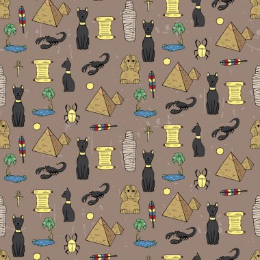 Seamless pattern with egyptean elements such as cats, sphinx, mu