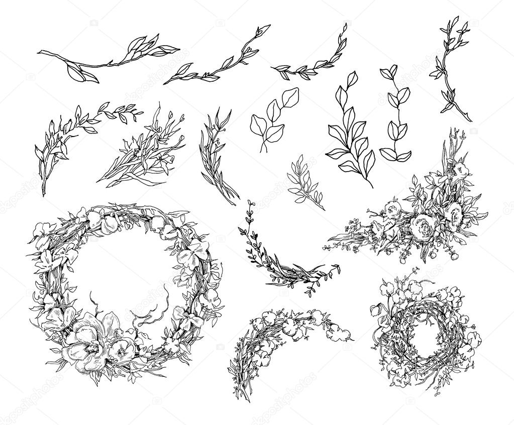 Vector Hand Drawn Illustration. Floral Background. Wreath