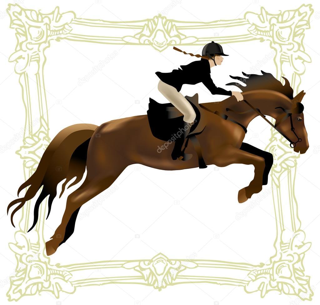 Horse Rider Woman Equestrian Sport Realistic Vector Illustration Stock Vector C Ring Ring 115948454