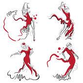 Photo Flamenco dance vector sketches.