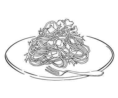 Vector sketch of spaghettii plate. Isolated on white.