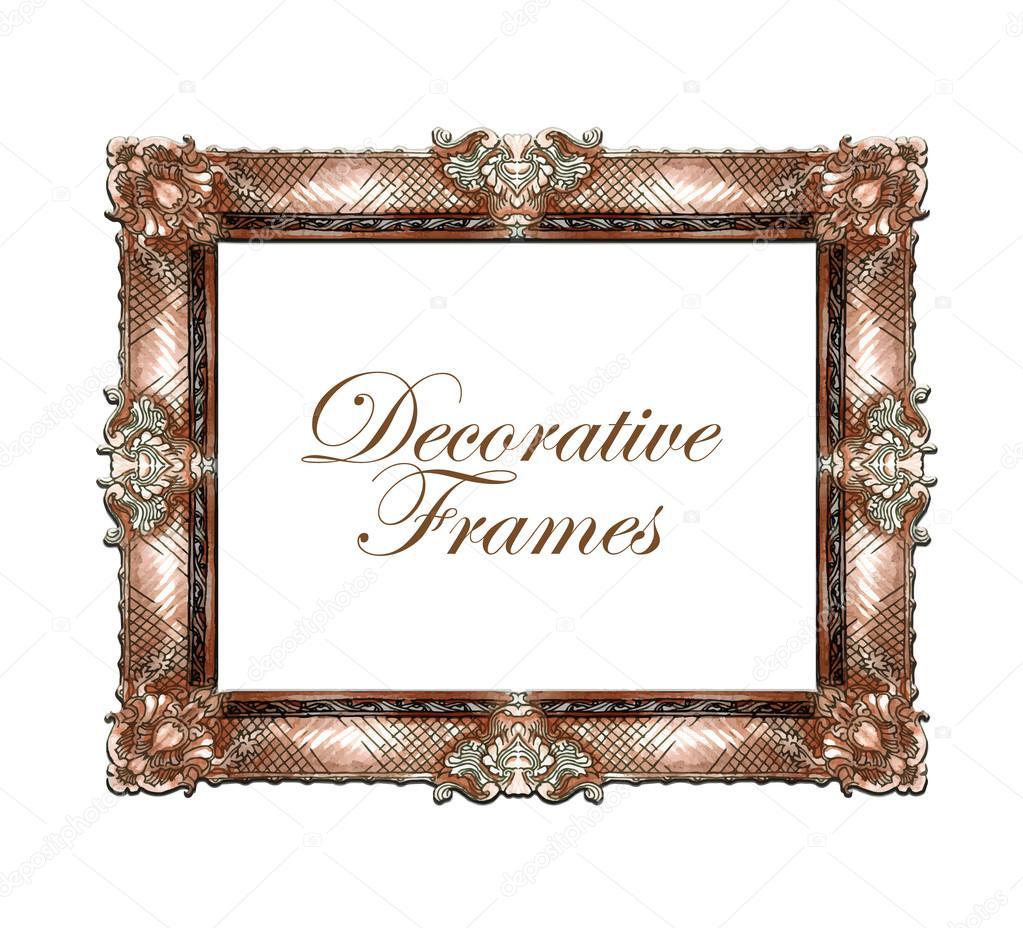 Dibujo de vector hecho mano de Marcos ornamentales — Vector de stock ...