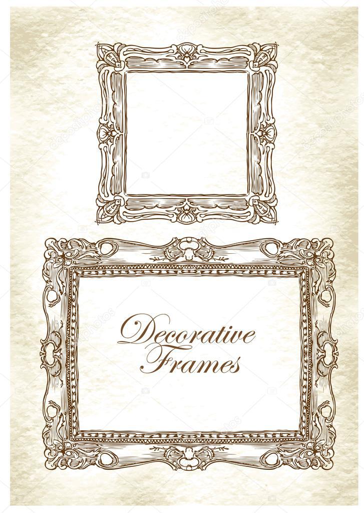 Dibujo de vector hecho mano de Marcos ornamentales — Archivo ...