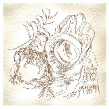 Summer holiday - original hand drawn illustration.