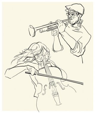 Vector sketch of musicants.