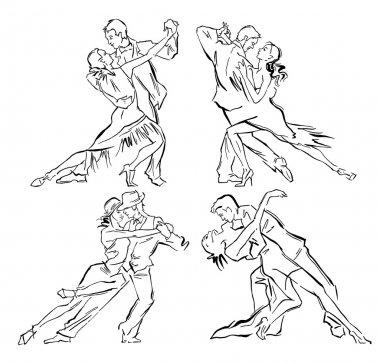 Hand made vector sketch of tango dancers.