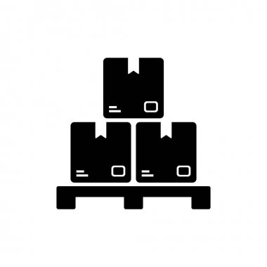 Pile of stacked cardboard boxes. Delivery icons. Pile of stacked sealed goods cardboard boxes. Vector illustration isolated on white background.