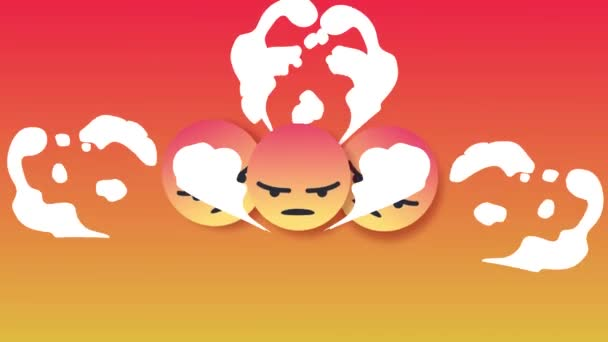 A Bounce motion of multiple angry social media emoticon with smoke behind red background