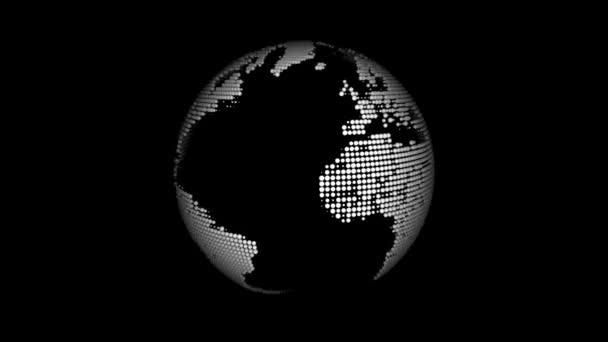 animierte rotierender Globus auf schwarzem Hintergrund
