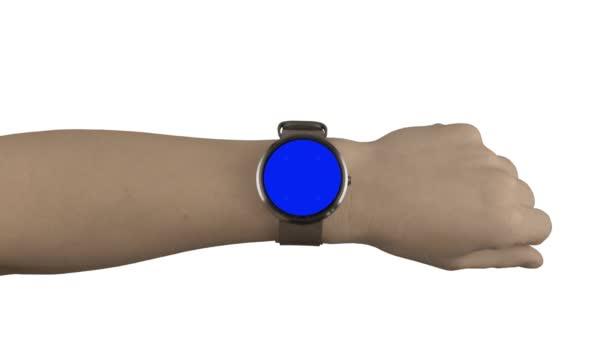 Chytré hodinky maketa interakce modrá obrazovka a bílé pozadí