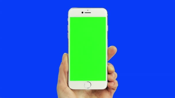 White smart phone chroma key blue and green with real hand