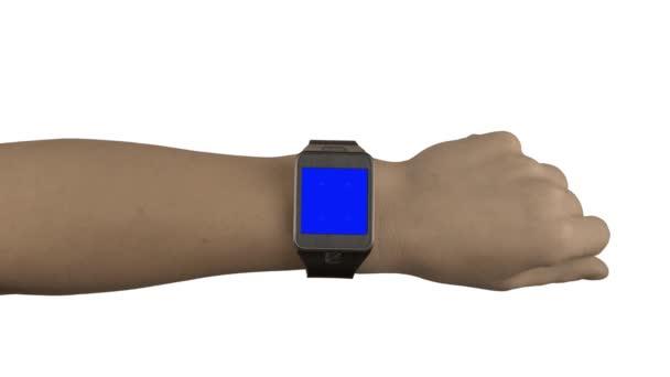 Smart-watch mock-up s gesty chroma klíčování a bílým pozadím