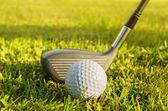 Golfovou hůl a míček v trávě