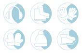 Christmas icon of earmuffs, winter boots, hat, skates, gloves and mittens in blue color for print, web icons, t shirt design, greeting cards, business and holidays. Vector icons illustration