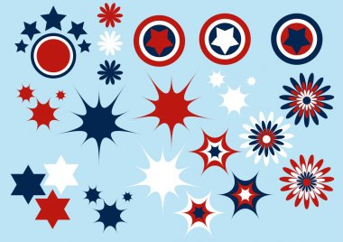 American French symbols set vector