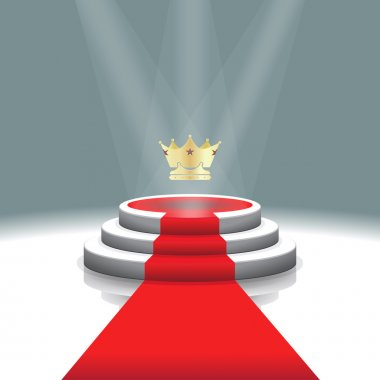 Illuminated stage podium with crown and red carpet for award ceremony,  Vector illustration