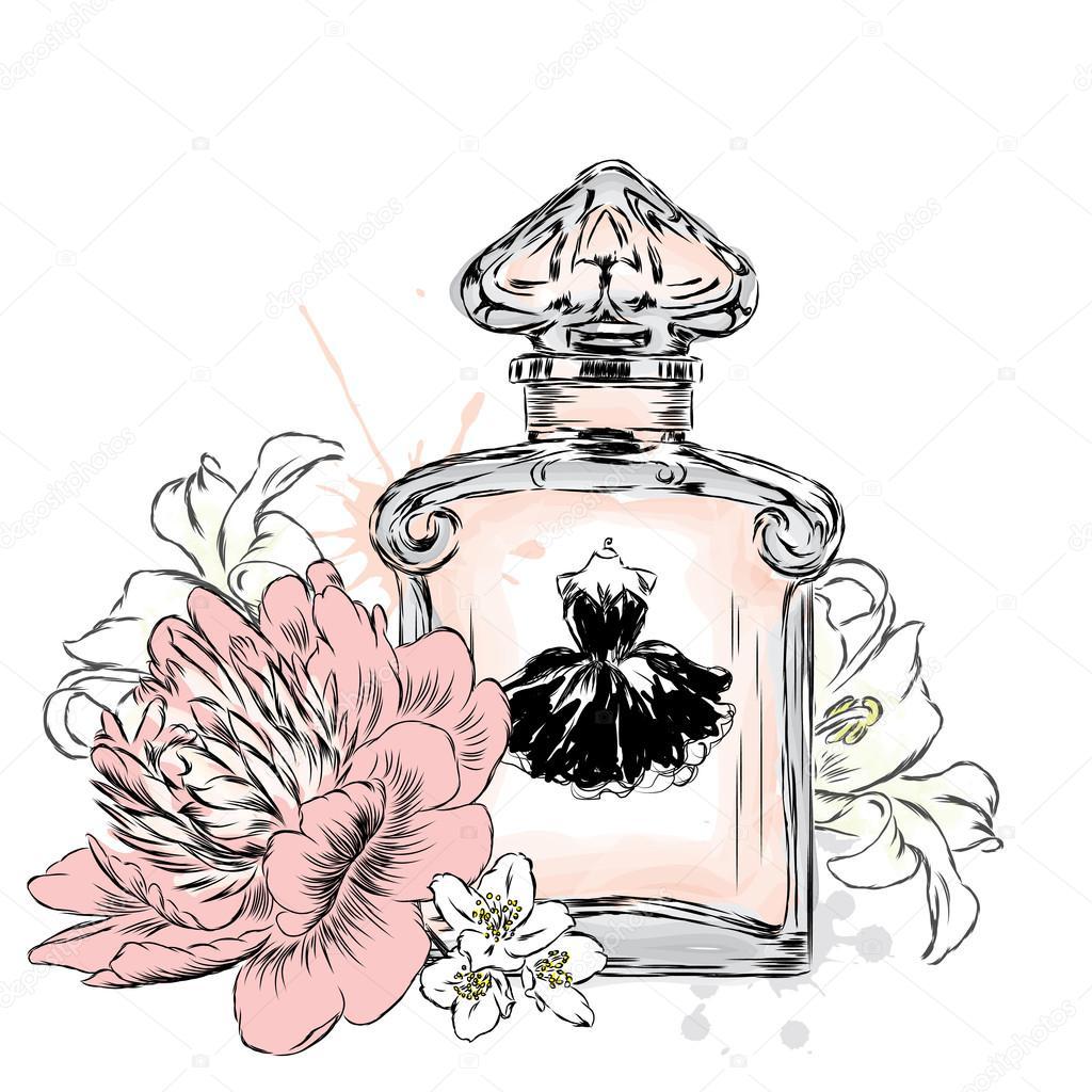 Postal Tarjeta De FloresVectorImprimir Y Perfume En Una Botella 2WH9IED