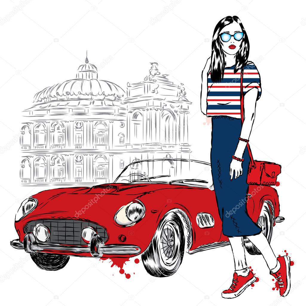 Retro Car and Girl Poster