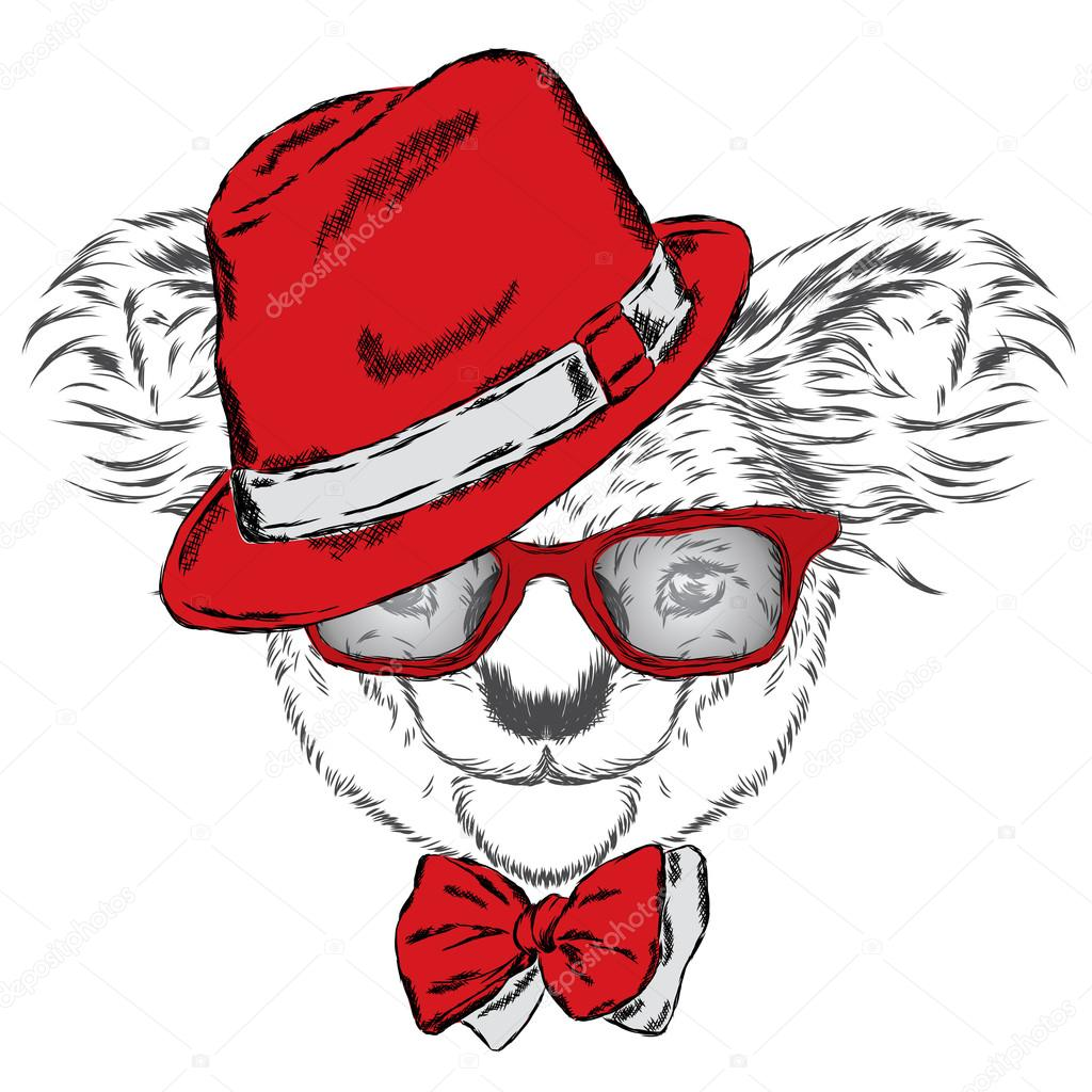 Cute koala in a cap and a tie australia vector illustration for cute koala in a cap and a tie australia vector illustration for greeting card poster or print on clothes vector by vitalygrin m4hsunfo