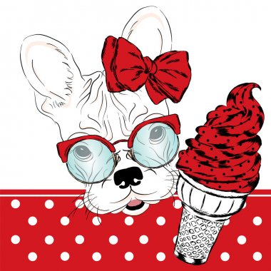 French bulldog with a portion of ice cream. Vector illustration.