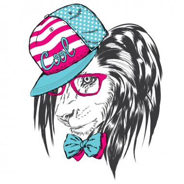 Lion in cap and glasses. Vector illustration for greeting card, poster, or print on clothes.
