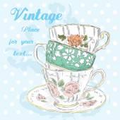 Ruční kresba vintage poháry. Vintage pohlednice