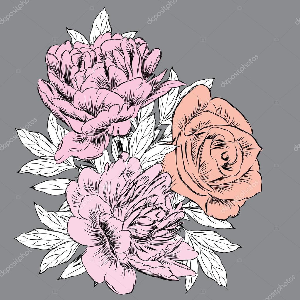 10548933c8 Vintage virágok vektor. Pünkösdi rózsa és a rózsa. Vintage képeslap — Stock  Vector