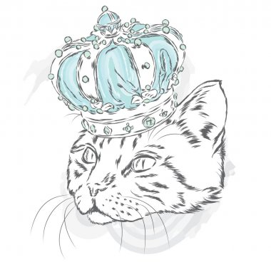 Funny cat in the crown. Vector illustration for a card or poster. Prints on the clothes or accessories.