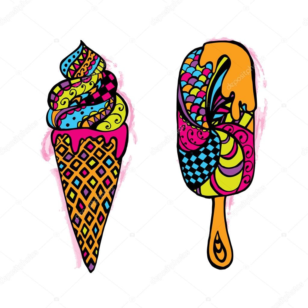 Ice Cream In A Cone On A Stick In A Vector Vector Illustration For