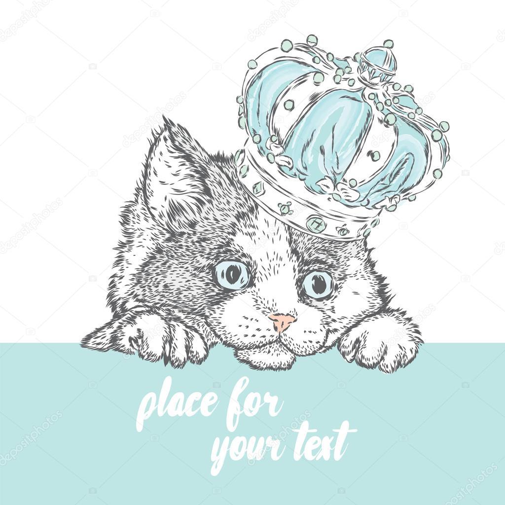 王冠かわいい子猫手描きグリーティング カードポスターまたは