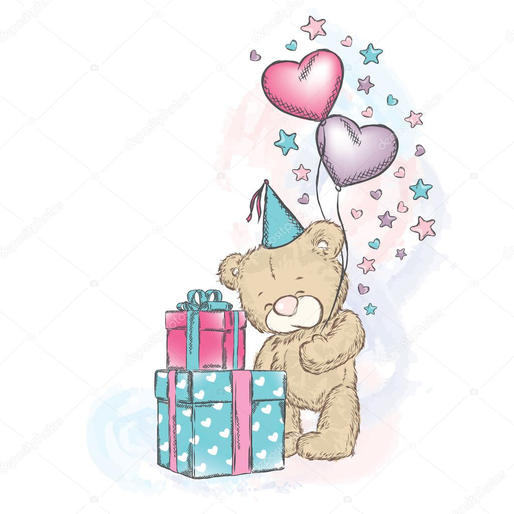 Открытки с днем рождения мишки