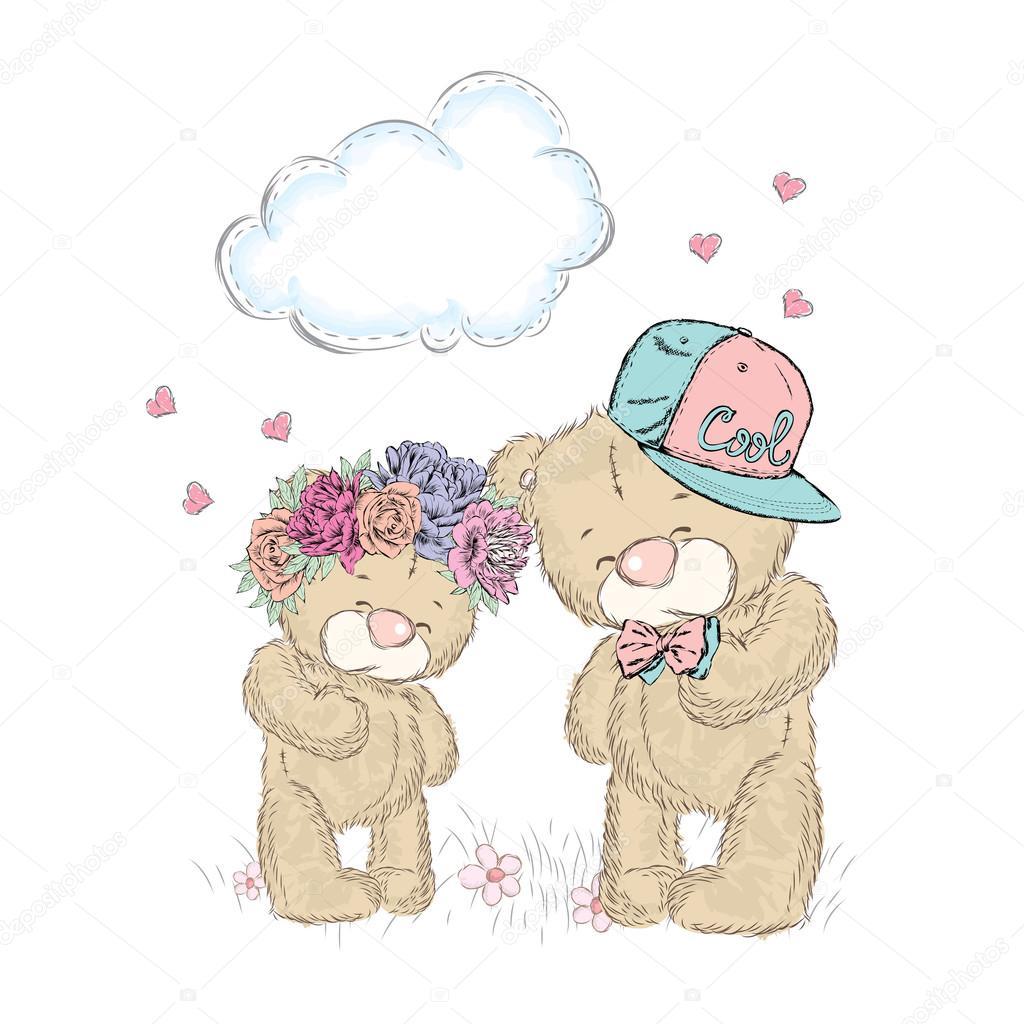 Teddy Bear Under The Lamp Love St Valentine S Day Vector