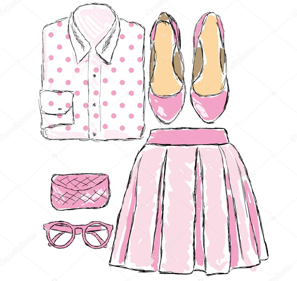 a set of clothes and accessories in pink vector