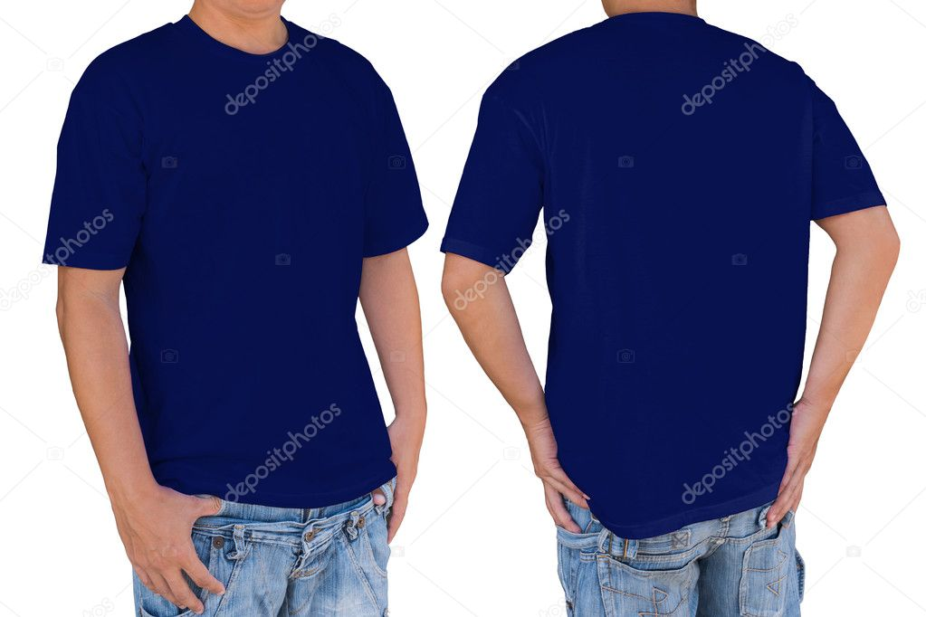 Man Wearing Blank Dark Blue T Shirt With Clipping Path
