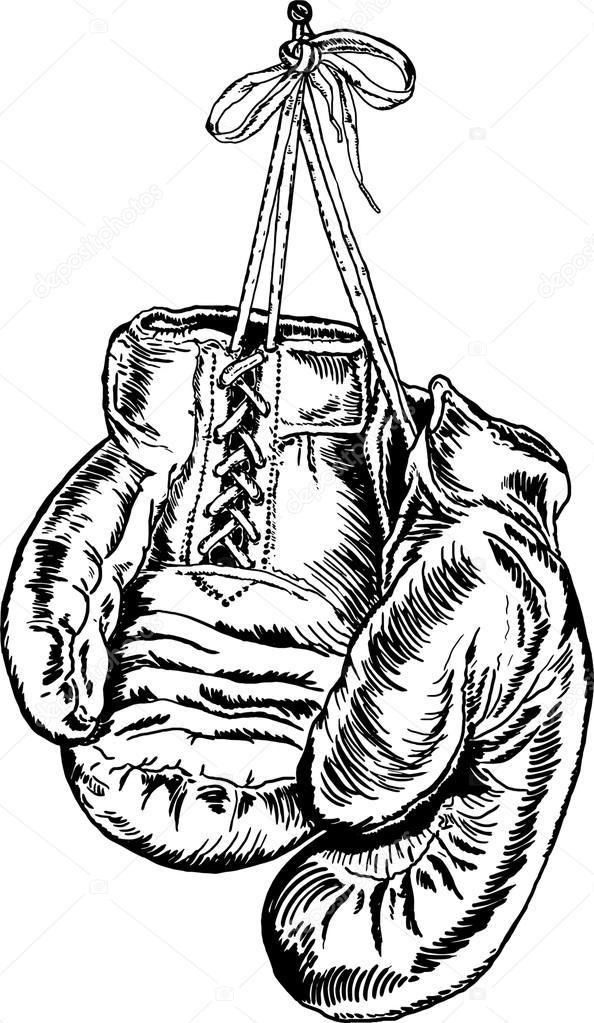 zwart wit tekening bokshandschoenen stockvector