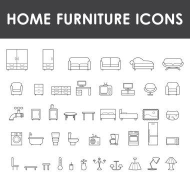 Home furniture icons set