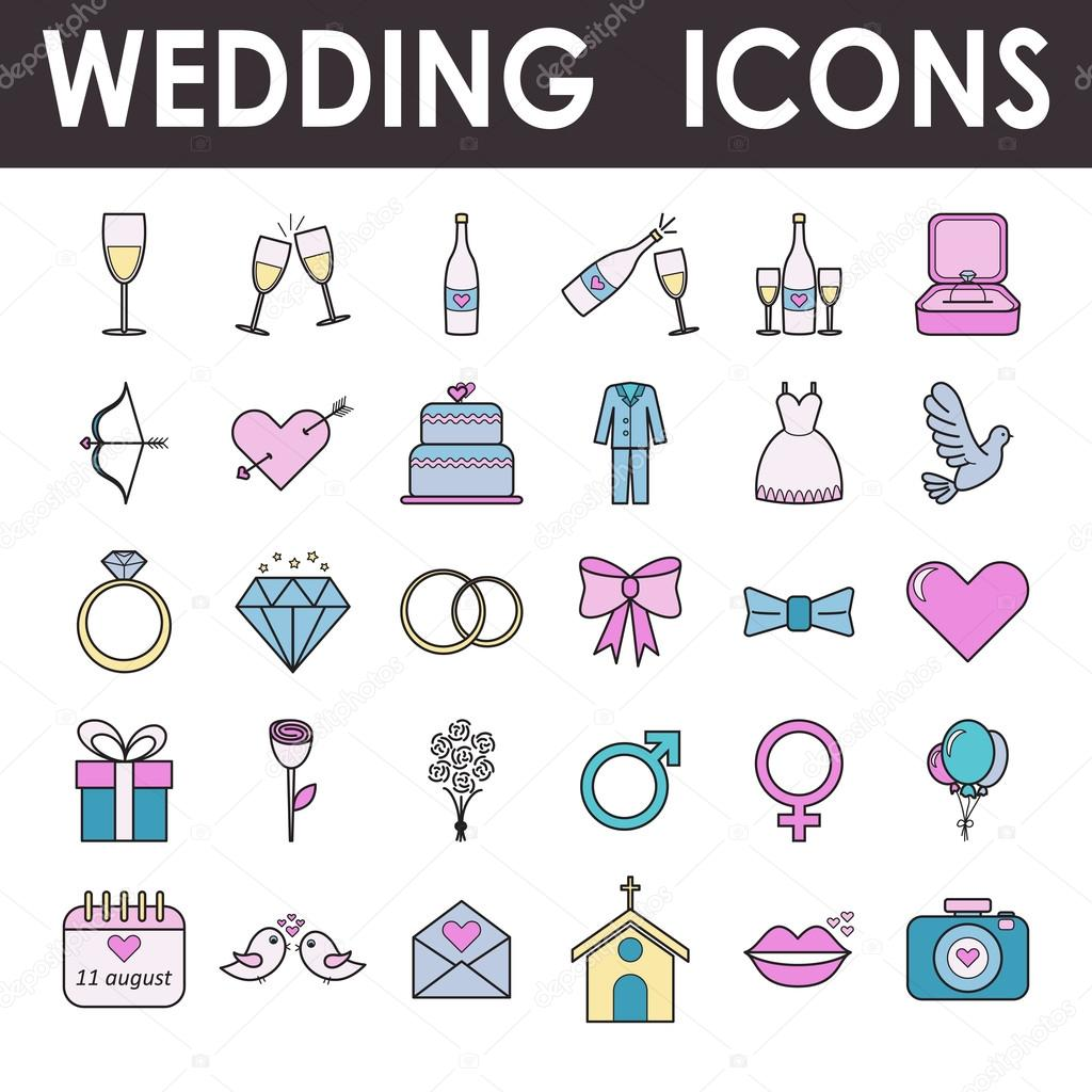 Set of wedding and love icons