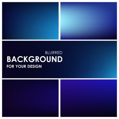 Set of abstract blue blurred background