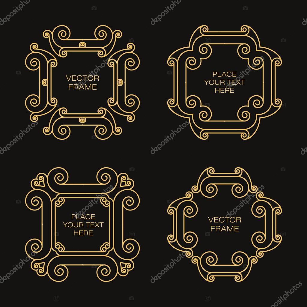 Conjunto de cuatro marco en estilo de contorno — Vector de stock ...