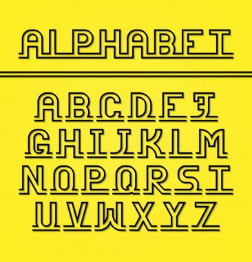 Latin alphabet. Black letters with shadow