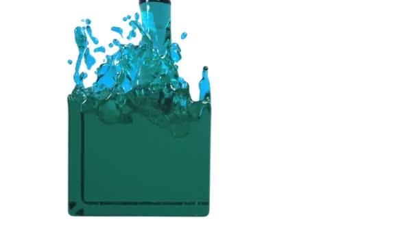 liquido blu riempie un contenitore lentamente