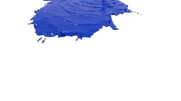 Blaue Farbe gießt in Zeitlupe auf Weiß