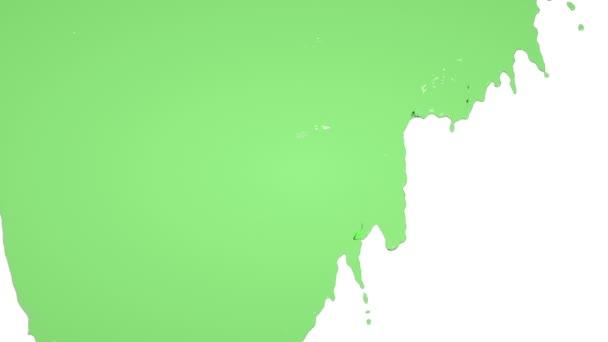grüne Farbe fließt langsam herunter