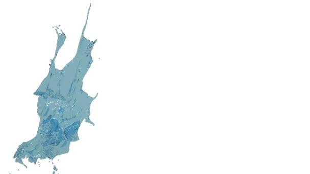 close-up view of big splash of blue liquid