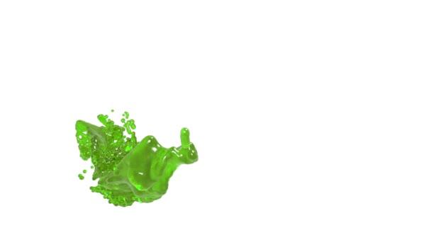 Abstraktní zelený tok kapaliny na bílém pozadí.