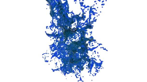 big splashes of blue liquid. clear liquid
