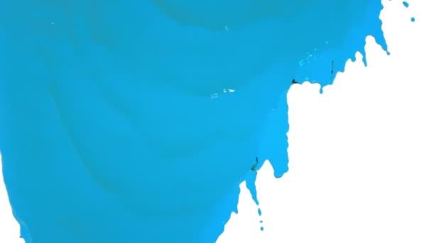 Blaue Farbe fließt langsam herunter. klare Flüssigkeit