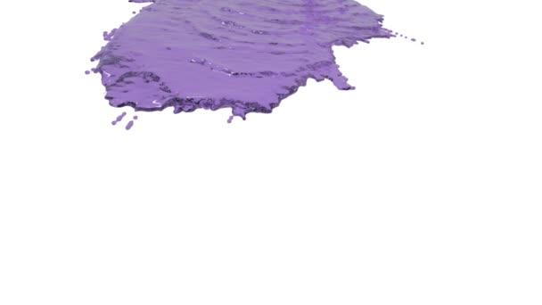 Violette Farbe ergießt sich in Zeitlupe auf Weiß. gefärbtes Wasser