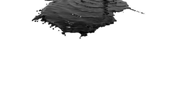 schwarze Flüssigkeit, die sich in Zeitlupe auf Weiß ergießt. farbiges Öl