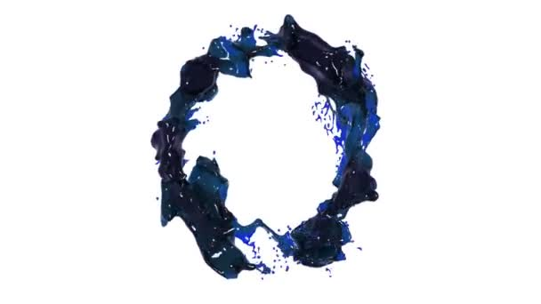 blue liquid circle on white background. Liquid oil